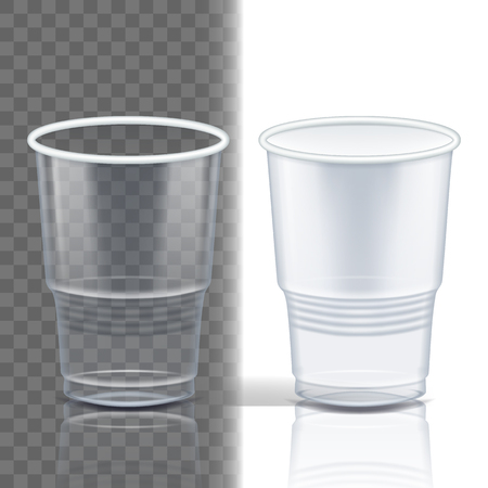 Plastic Cup Transparent Vector. Graphic Brand. Drink Mug. Disposable Tableware Clear Empty Container. Cold Or Hot Takeaway Drink. Isolated 3D Realistic Illustration