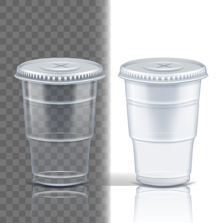 Plastic Cup Transparent Vector. Product Packing. Drink Mug. Disposable Tableware Clear Empty Container. Cold Or Hot Takeaway Drink. Isolated 3D Realistic Illustration