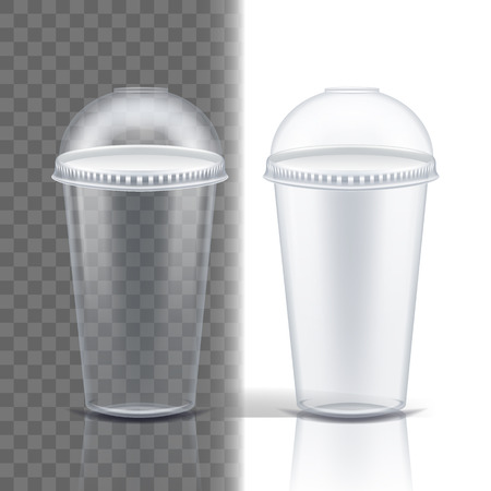 Plastic Cup Transparent Vector. Cafe Cutlery. Drink Mug. Disposable Tableware Clear Empty Container. Cold Or Hot Takeaway Drink. Isolated 3D Realistic Illustration  イラスト・ベクター素材