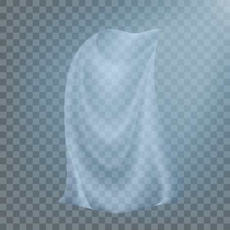 Fluttering White Cloth Vector. Billowing Clear Curly Curtain Transparent White Cloth. Realistic Clear Material Illustration