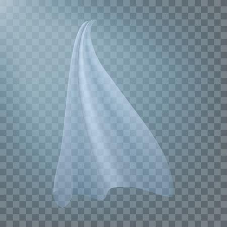 Fluttering White Cloth Vector. Viel Silk. Fabric Curtain. Clear Drape. Realistic Clear Material Illustration Vektoros illusztráció