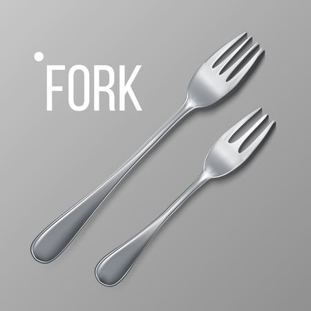 Fork Vector. Silver Metal Fork Top View. Restaurant Silverware Tool. Realistic Illustration