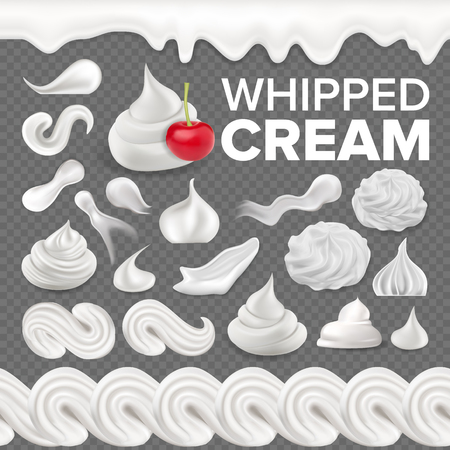 Whipped Cream Set Vector. White Creamy Swirl. Vanilla Milk Dessert. Soft Decoration Icon. Frothy Sweet Candy. Topping Product. Tasty Classic Twirl. 3D Realistic Illustration Çizim
