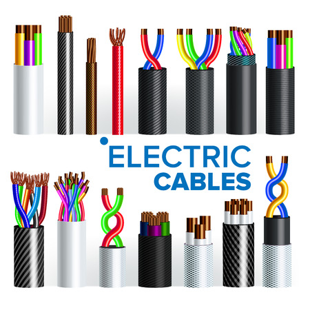 Electric Cables Set Vector. Copper Wire. Electrician Rubber Cord. Industrial Network Power. Electricity Energy. Communication Connection Component. 3D Realistic Illustration