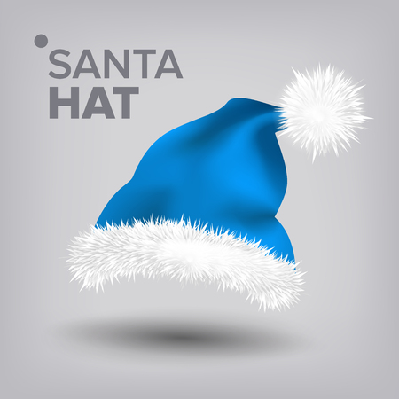 Blue Santa Hat Vector. Traditional Costume. Winter Symbol. December Sign. Santa Claus Holiday Blue And White Cap. Winter Christmas Design. Isolated Realistic Illustration