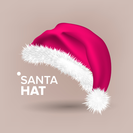 Pink Santa Hat Vector. Snow Clothing. Celebration Object. Seasonal Accessory. Santa Claus Holiday Pink And White Cap. Winter Christmas Design. Isolated Realistic Illustration