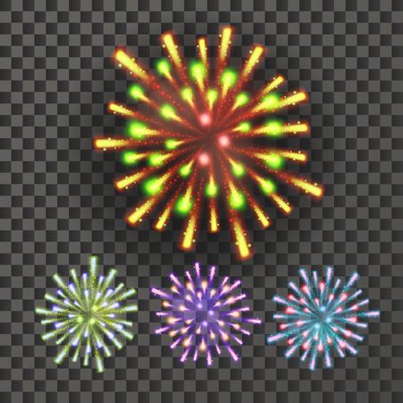 Firework Vector. Night Carnival Light. Isolated On Transparent Background Realistic Illustration