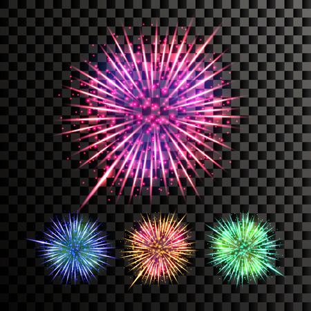 Firework Vector. Holiday Anniversary Salute Burst. Isolated On Transparent Background Realistic Illustration Ilustração
