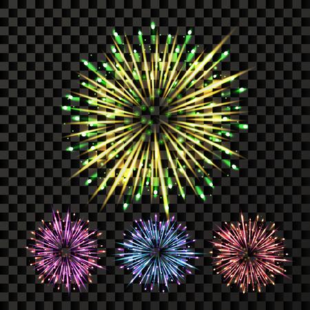 Vector de fuegos artificiales. Explosión de telón de fondo de explosión. Aislado sobre fondo transparente Ilustración realista
