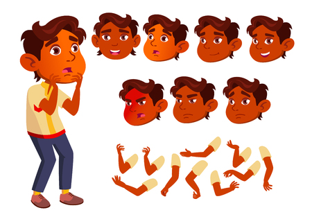 Indian Boy, Child, Kid, Teen Vector. Smile. Cute. Happiness Enjoyment. Face Emotions, Various Gestures. Animation Creation Set Isolated Flat Character Illustration