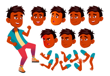 Indian Teen Boy Vector. Teenager. Fun, Cheerful. Face Emotions, Various Gestures. Animation Creation Set. Isolated Flat Character Illustration Illustration