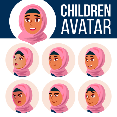 Arab, Muslim Girl Avatar Set Kid Vector. Primary School. Face Emotions. Facial, People. Cheer, Pretty. Card, Advert. Cartoon Head Illustration 向量圖像