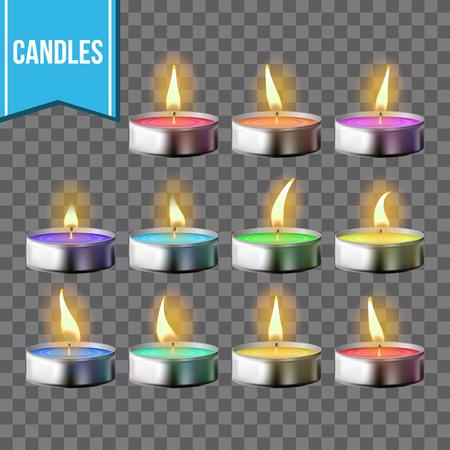 Candles Set Vector. Tea light Metal Cup. Transparent Background. Realistic Illustration Çizim