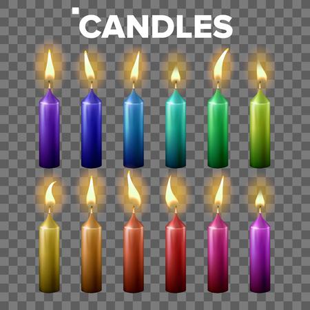 Candles Set Vector. Transparent Background. Paraffin Symbol. Meditation Element. Decorative Icon. Isolated Realistic Illustration