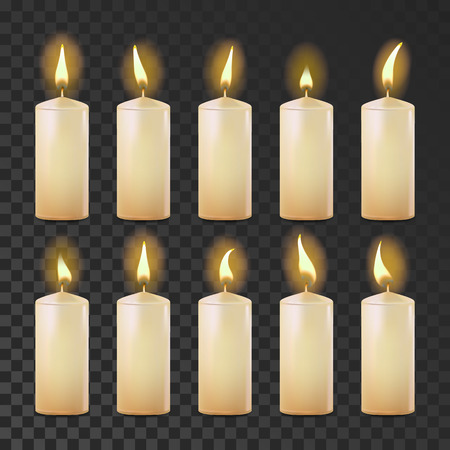 Candles Set Vector. White, Yellow. Religion, Church Prayer Transparent Background Realistic Illustration