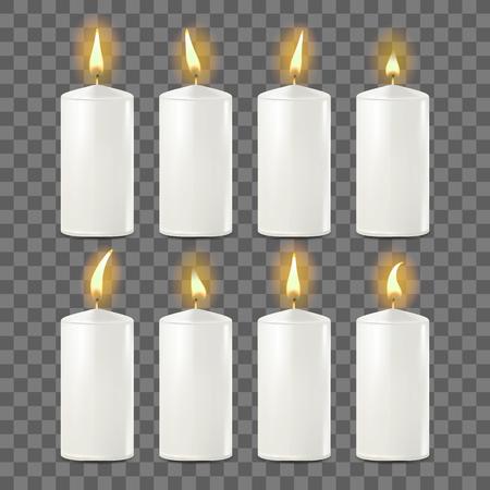 Candles Set Vector. White. Religion, Church Prayer. Transparent Background Realistic Illustration Çizim