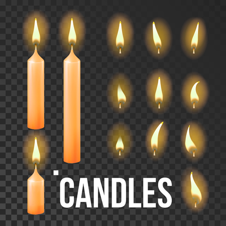 Candles Set Vector. Orange. Religion, Church Prayer. Transparent Background Realistic Illustration