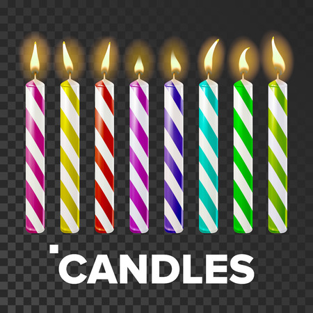 Candles Set Vector. Cake. Fire Light. Lit Wick. Glow Cake. Transparent Background Realistic Illustration