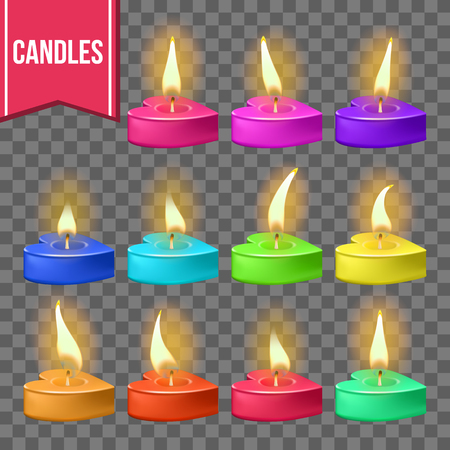 Candles Set Vector. Heart Form. Wax Design. Romantic Object. Holiday Celebration. Transparent Background. Realistic Illustration