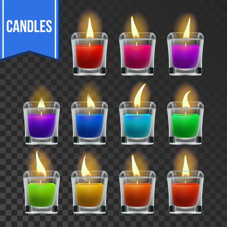 Candles Set Vector. Glass Jar. Christmas Lighter. Wax Design. Romantic Object. Transparent Background. Realistic Illustration