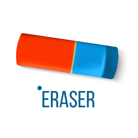 Eraser Stationery Vector. Blue Orange. Mistake Fix. Education Design. Classic Rubber Realistic Illustration Ilustração
