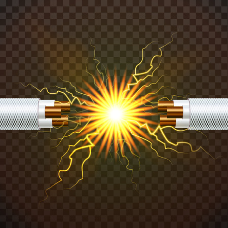Break Electric Cable Vector. Electric Arc Power. Electricity Energy. 3D Realistic Isolated Illustration Illustration
