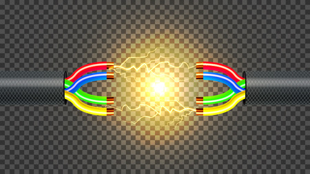 Break Electric Cable Vector. Electric Arc Power. Electricity Energy. 3D Realistic Isolated Illustration Ilustrace