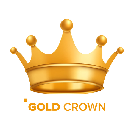 Gold Crown Vector. King Design. Royal Icon. Isolated Realistic Illustration Çizim