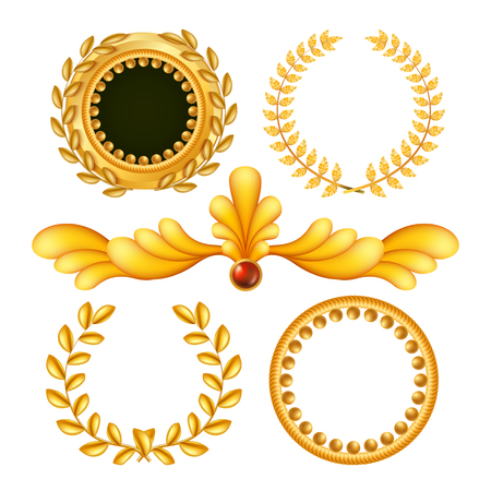 Gold Vintage Royal Elements Vector. Antique Frame, Royal Baroque. Isolated Realistic Illustration Иллюстрация
