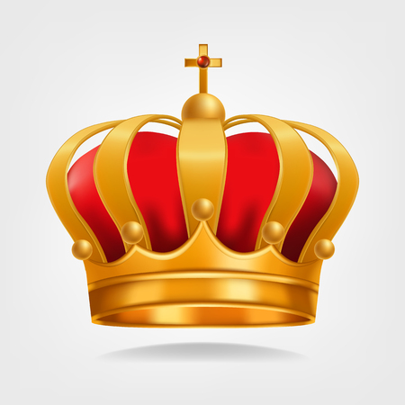 Gold Crown Vector. Luxury Monarchy Symbol. Isolated Realistic Illustration