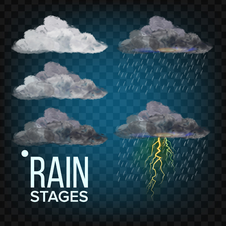 Rain Stages Vector. Cloud, Storm. Weather Icon Realistic Transparent Illustration