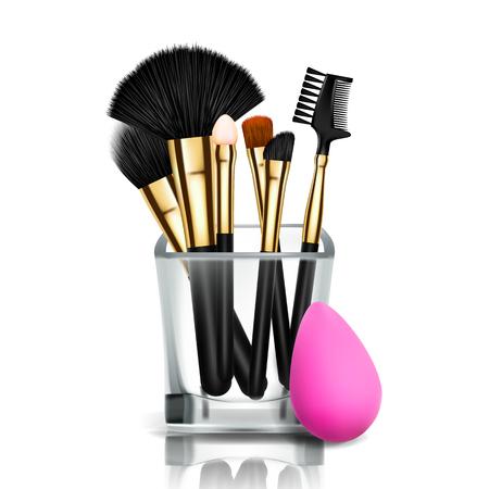Make-up-Pinsel-Halter-Vektor. Glas. Weibliche Bewerbung. Gerätesammlung. Schöner Teint. Zubehörteil. Realistische Darstellung Vektorgrafik