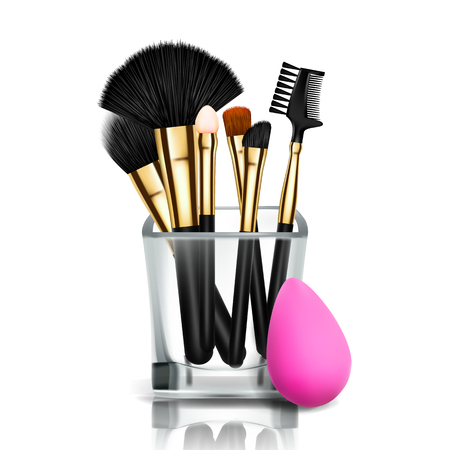 Makeup Brush Holder Vector. Glass Cup. Female Application. Equipment Collection. Beautiful Complexion. Accessory. Realistic Illustration  イラスト・ベクター素材
