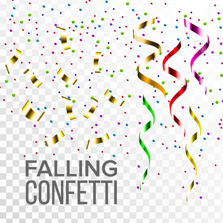 Falling Confetti Set Vector. Event Elements Decoration. Celebrate. Light Effect. Gift, Surprise Realistic Illustration