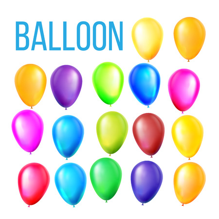 Balloons Set Vector. Birthday, Holiday Event Elements Decoration. Flying Object. Color Round Present. Illustration