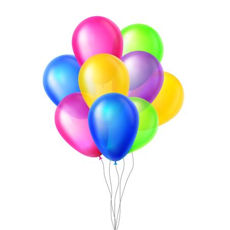 Vettore di palloncini. In aria. Grande sorpresa. Mazzo di gruppo. Volare. Compleanno, illustrazione della decorazione degli elementi dell'evento di festa