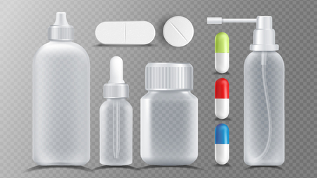 Transparent Medical Container Vector. Jar For Tablets, Vitamin, Capsule. Packaging Design Realistic Illustration  イラスト・ベクター素材