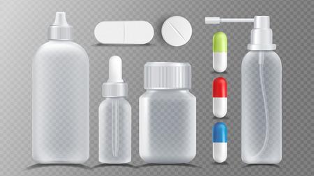 Transparent Medical Container Vector. Jar For Tablets, Vitamin, Capsule. Packaging Design Realistic Illustration 矢量图像