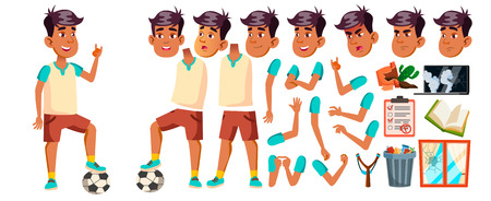 Arab, Muslim Boy Kid Vector. High School Child. Animation Creation Set. Face Emotions, Gestures. Sport Game. Soccer. Smile, Activity, Beautiful. For Web, Poster Design. Animated. Illustration