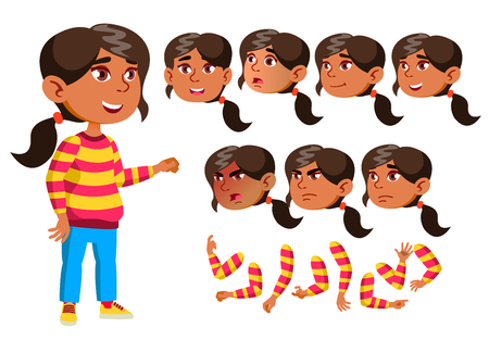 Arab, Muslim Girl, Child, Kid, Teen Vector. Smile. Cute. Happiness Enjoyment. Face Emotions, Various Gestures. Animation Creation Set. Isolated Flat Cartoon Character Illustration