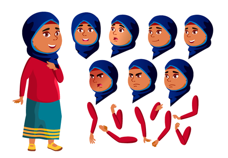 Arab, Muslim Teen Girl Vector. Teenager. Face. Children. Face Emotions, Various Gestures. Animation Creation Set. Isolated Flat Cartoon Character Illustration Foto de archivo - 118545712