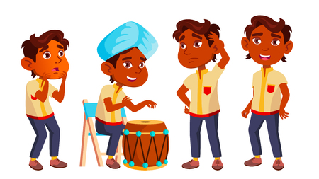 Indian Boy Kindergarten Kid Poses Set Vector. Emotional Character Playing. Playground. For Presentation, Invitation, Card Design. Isolated Cartoon Illustration