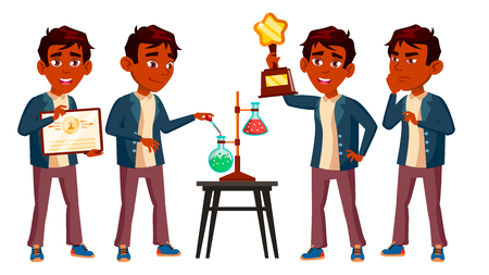 Indian Boy Schoolboy Kid Poses Set Vector. High School Child. Classmate. Teenager, Classroom. Discovery, Experience, Science. For Advertising, Booklet Placard Design Cartoon Illustration