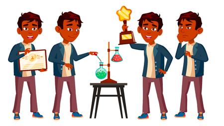 Niño indio niño colegial plantea establecer Vector. Niño de secundaria. Compañera de clases. Adolescente, Aula. Descubrimiento, Experiencia, Ciencia. Para publicidad, folleto, cartel, diseño, caricatura, ilustración