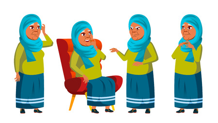 Arab, Muslim Old Woman Poses Set Vector. Elderly People. Senior Person. Aged. Retiree. Smile. Web, Poster, Booklet Design. Isolated Cartoon Illustration
