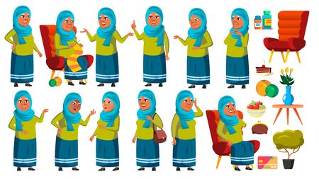 Arab, Muslim Old Woman Poses Set Vector. Elderly People. Senior Person. Aged. Cute Retiree. Activity. Advertisement, Greeting, Announcement Design. Isolated Cartoon Illustration Ilustração