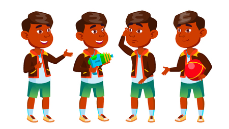 Indian Boy Kindergarten Kid Poses Set Vector. Preschooler Playing. Friendship. For Web, Poster, Booklet Design. Cartoon Illustration Banque d'images - 124654667