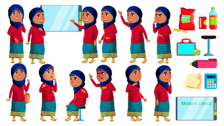 Arab, Muslim Girl Kid Poses Set Vector. High School Child. Schoolchild. Funny, Friendship, Happiness Enjoyment. For Banner, Flyer, Web Design. Isolated Cartoon Illustration