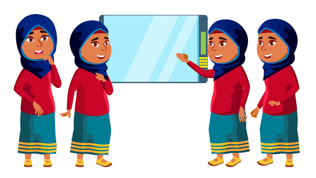 Arab, Muslim Girl Kid Poses Set Vector. High School Child. Life, Emotional, Pose. For Presentation, Print, Invitation Design. Isolated Cartoon Illustration