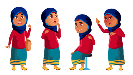 Arab, Muslim Girl Kid Poses Set Vector. High School Child. child, pupil. Active, Joy, Leisure. For Banner, Flyer, Brochure Design. Isolated Cartoon Illustration  イラスト・ベクター素材